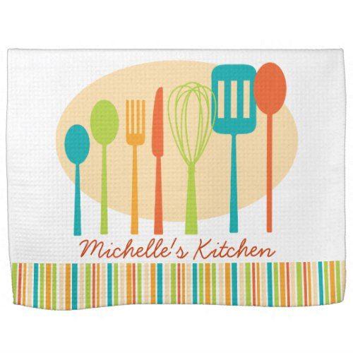 Retro Kitchen Cooking Utensils Personalized Towel