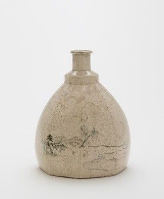 "1892: Freer purchases his first Japanese ceramic from New York art dealer Takayanagi Tōzō. He is fascinated by works of diverse origins that are nonetheless related in color or surface texture. The underglazed decoration on this Satsuma ware bottle, for example, reminds him of a ""Whistlerian landscape.""   Bottle; attributed to Kano Tangen (1679–1767); Japan, Edo period, 19th century; stoneware with cobalt pigment under clear glaze; Gift of Charles Lang Freer; F1892.26"
