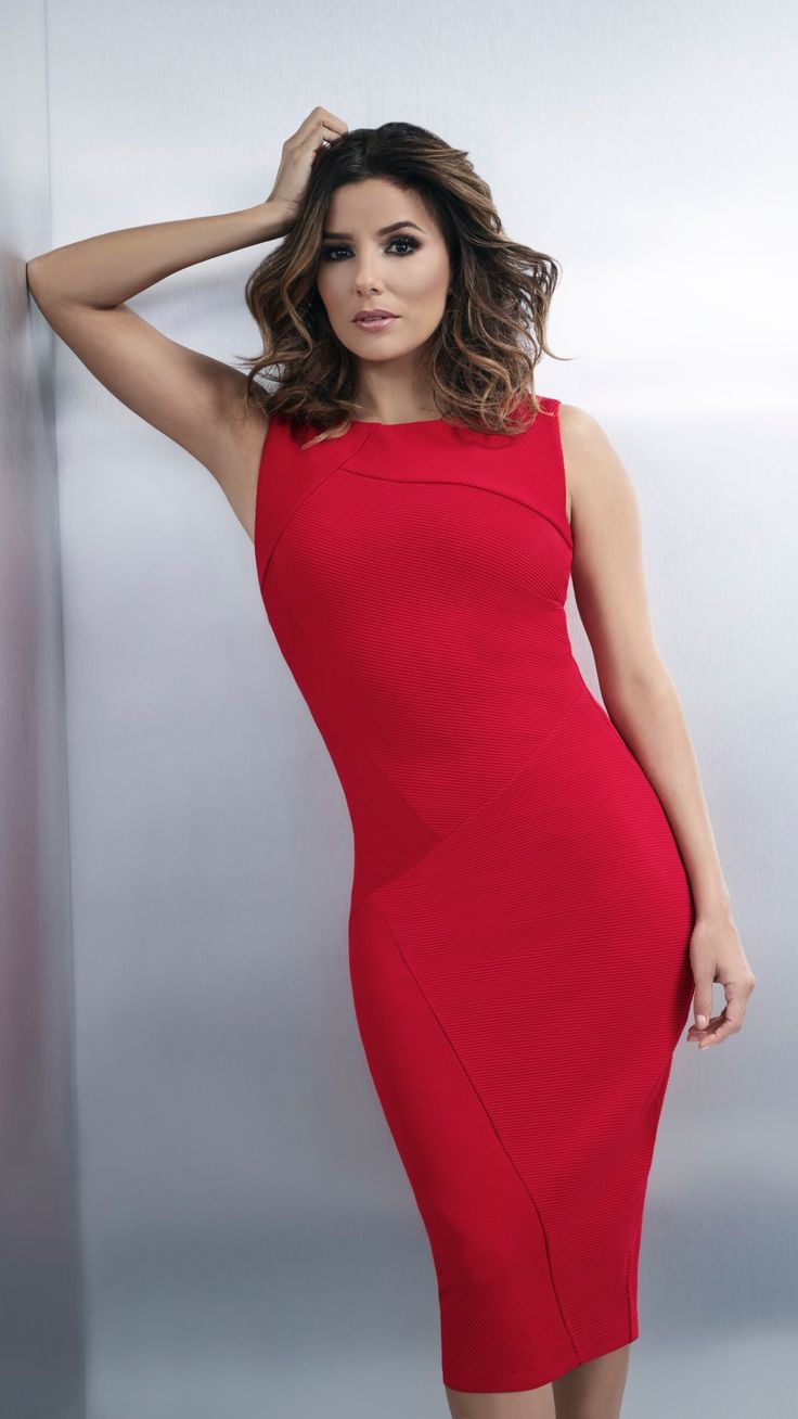 Exclusively from the Eva Longoria collection. This gorgeous ribbed dress gives you an instant hourglass figure. Perfect for the office or an evening out.