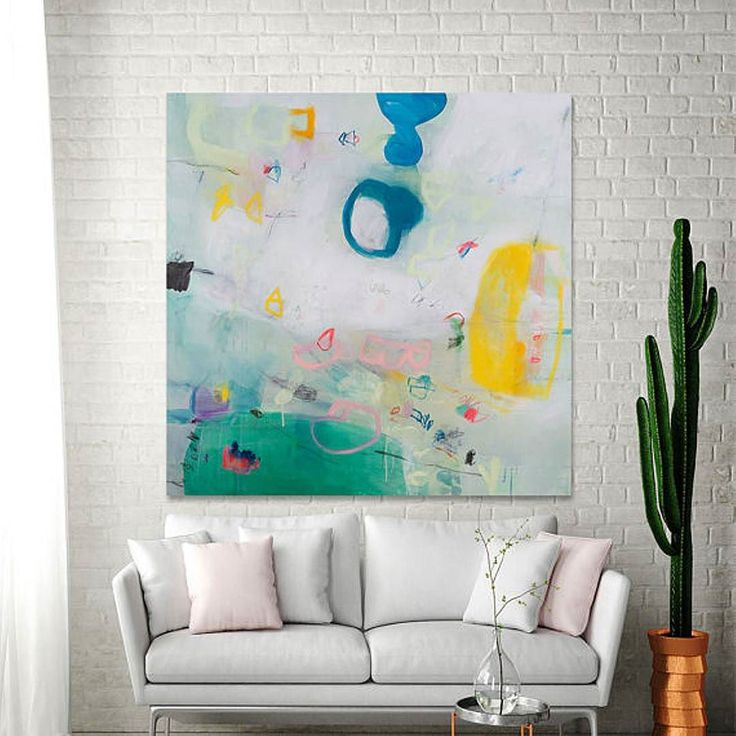 Large Wall Art White Painting With Green And Yellow Colorful Modern  Painting ABSTRACT Painting 36x36 By Part 85