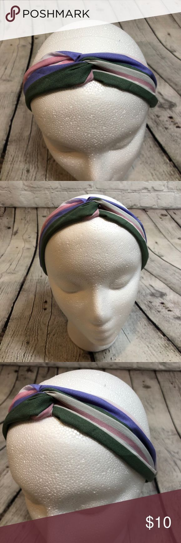 Knotted Boho Headband Stripes Pink Purple Green This knotted headband is super cute. It has elastic inside the fabric and it's stretchy and comforta
