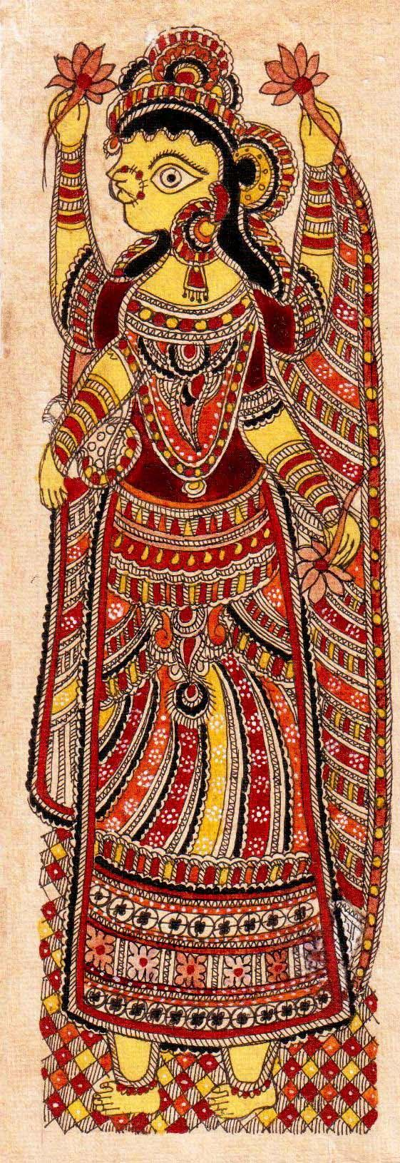 Madhubani or Mithila Paintings are said to have originated during the period of Ramayana, when King Janaka commissioned artists to do paintings during the wedding of his daughter, Sita to Lord Ram. The paintings usually depicted nature and Hindu religious motifs, the themes generally revolve around Hindu deities.http://handicrafts.exoticabazaar.com/view/4838-7-devi-laxmi113.html