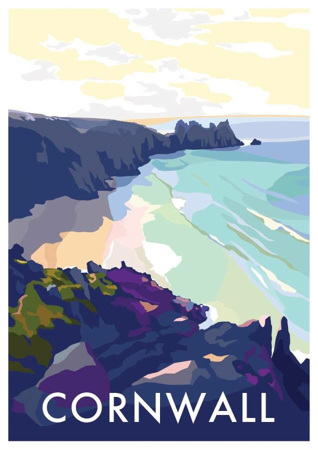 Cornwall seaside beach vintage railway poster by Becky Bettesworth. Porthcurno Logan Rock Kernow