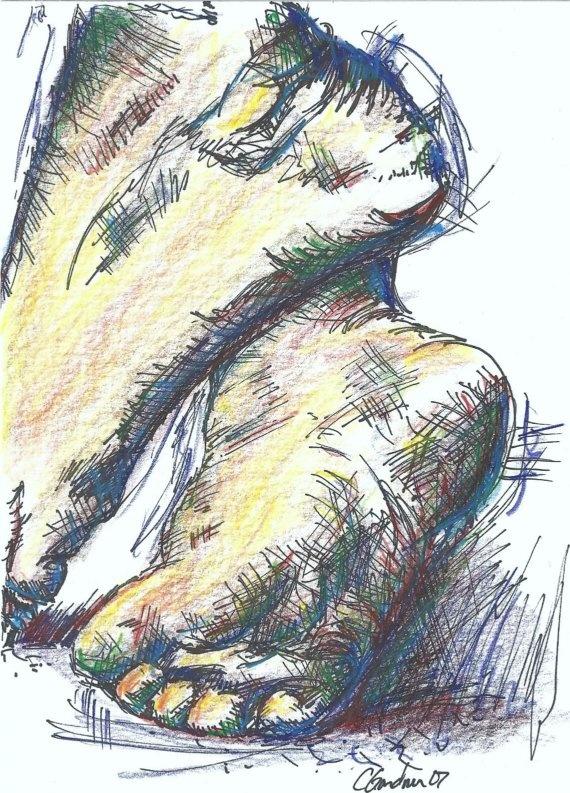 """""""Simple""""  Color pencil sketch of feet"""