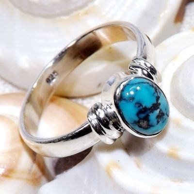 Blue Copper Turquoise Stone, Turquoise Ring, Sterling Silver Ring, Cab Stone Jewellery Handmade Ring