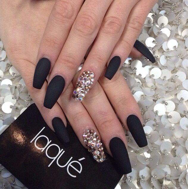 Matte black swarovski nails