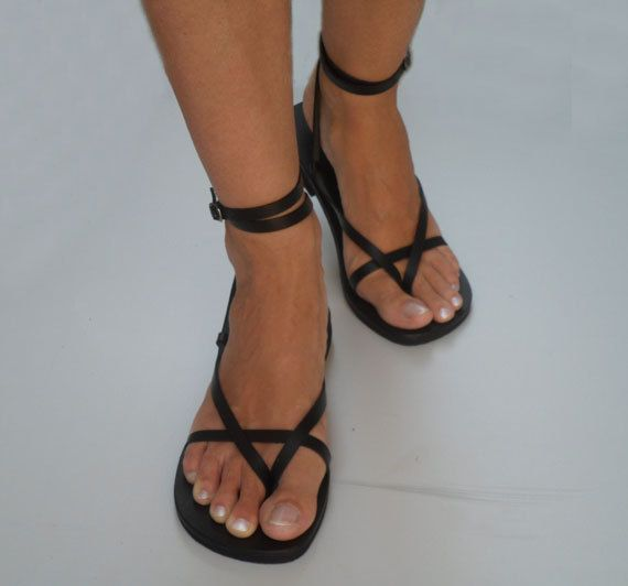 Delicate And Stylish Double Ankle Strap Leather Sandals With Buckle - Sunshine. $50.00, via Etsy.
