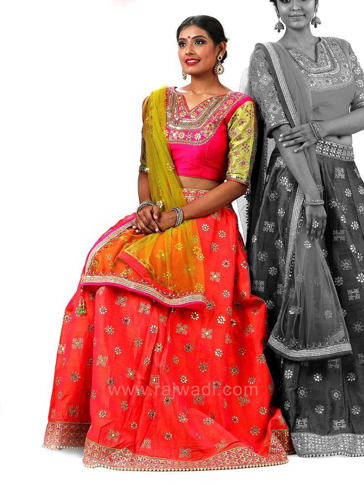 Raw Silk Embroidered Choli Suit with Net Dupatta #rajwadi #cholisuit #readycholi #lehengas #embroidered #FeelRoyal #bridal #colorful