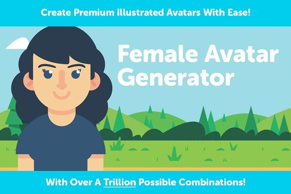 Female Avatar Generator by Slaptastick Studios on @creativemarket