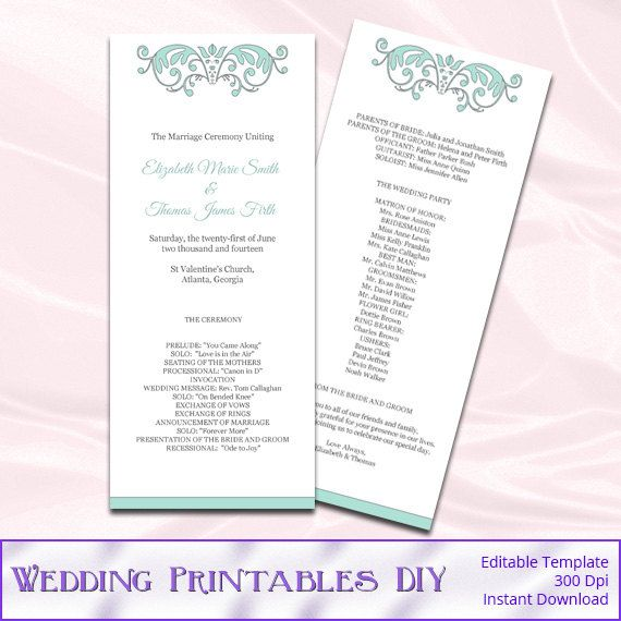 47 best Wedding Templates images on Pinterest Wedding stationery - printable program templates