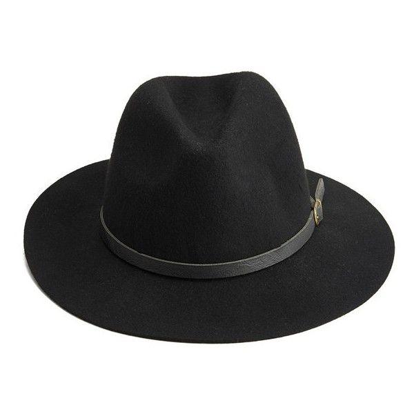 BeckSöndergaard Hancock Fedora Hat - Black (220 BRL) ❤ liked on Polyvore featuring accessories, hats, cappelli, head, headgear, black leather fedora, fedora hat, black hat, leather hat and black fedora hat