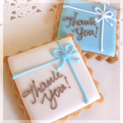 Blue Bow Gift Box サンクスギフトクッキー - SweetsHolic-ハンドメイドギフトアイシングクッキー&シュガー