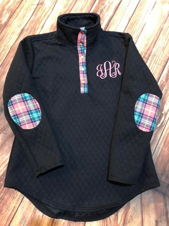 4767fd13bc6 Monogram Quilted Pullover Tunic with Plaid Elbow Patches ,Black,navy,Ivory,Gray,