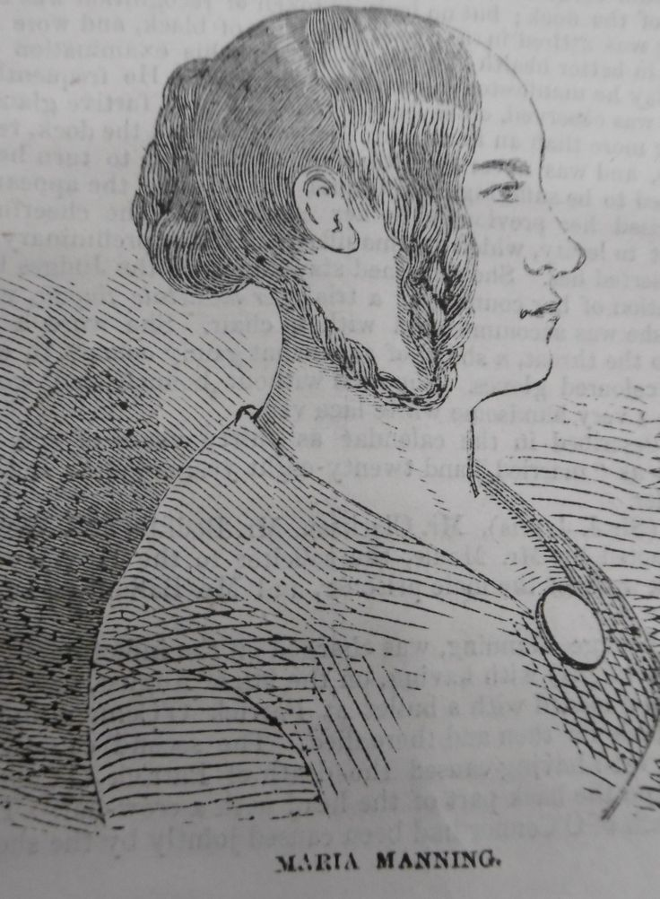 "Marie Manning (1821–1849) was hanged on 13 November 1849, after she and her husband were convicted of the murder of her lover, Patrick O'Connor, in the case that became known as ""The Bermondsey Horror."" To see more illustrations from Guildhall Library's collections - https://uk.pinterest.com/issyxb/maria-manning/"