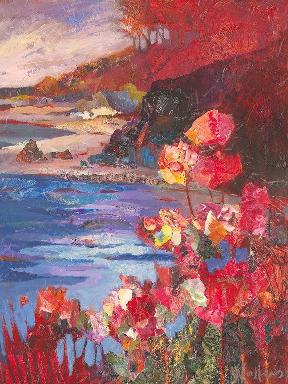 Pintura original de la costa de Oregon con flores por ShelliWalters