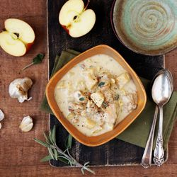 Creamy chicken stew with bacon, apples, cabbage and celery root.