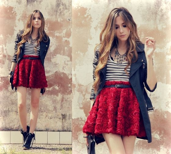 super cute rose skirt: Outfits, High Waist, Girls Generation, Fashion Style, Colors, Try Azul Marinho, Red Rose, Lace Skirts, Red Skirts