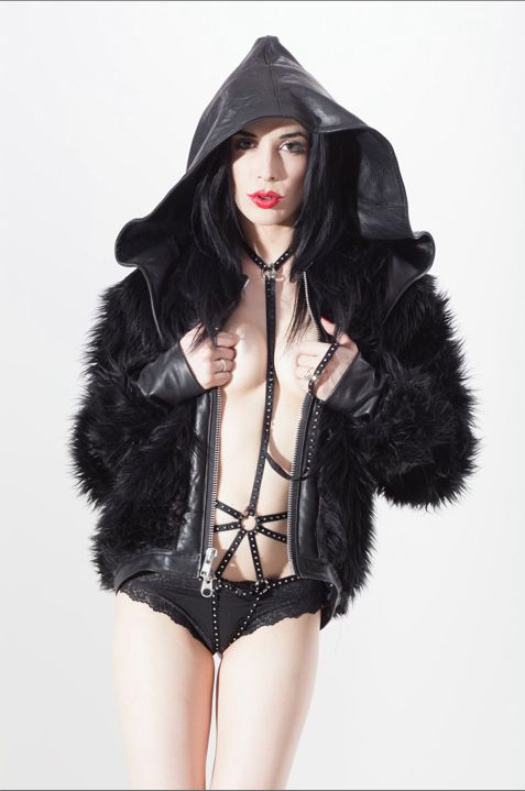 Aiden Ashley In A Custom Faux Fur And Black Leather Jacket