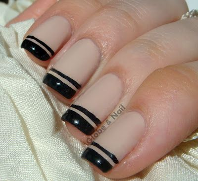 Globe & Nail: Double French TipGlobes Nails, Fashion Beautiful, Nails Art, Nude And Black Nails, Nails Design, French Manicures, Black French Nails, Black Double, Double French Tips Nails