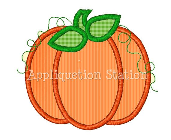 machine embroidery fall designs | Pumpkin Fall Applique Machine Embroidery Design orange harvest ...