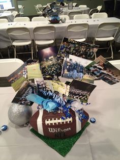 Football Centerpiece - maybe flanking the normal centerpieces on the longer tables?