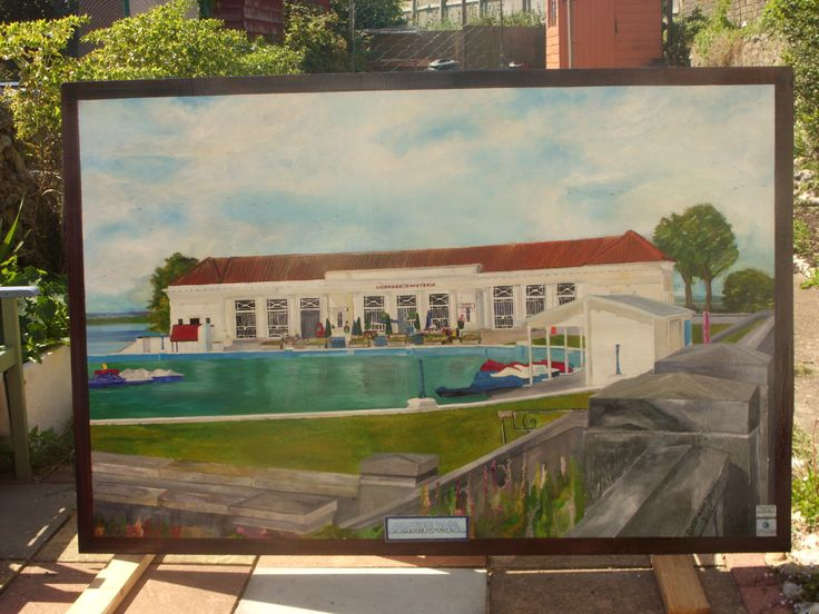 This is a 6ft x 4ft oil painting of the boating pool in Ramsgate Kent