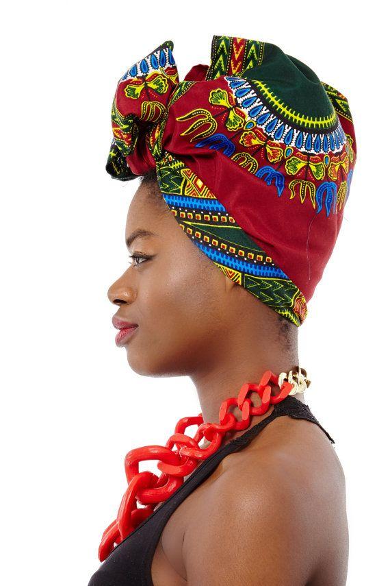 African Print Head Wrap Scarf - Fabric Head Wrap Bandana Head Scarf Pin Up…