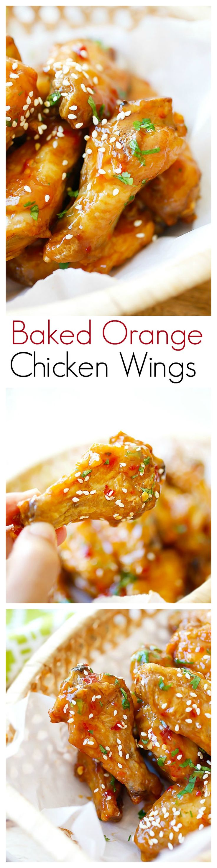 Baked Orange Chicken Wings - crispy, sticky baked wings (no frying) in an amazeballs orange sauce, so yummy | rasamalaysia.com | @justataste