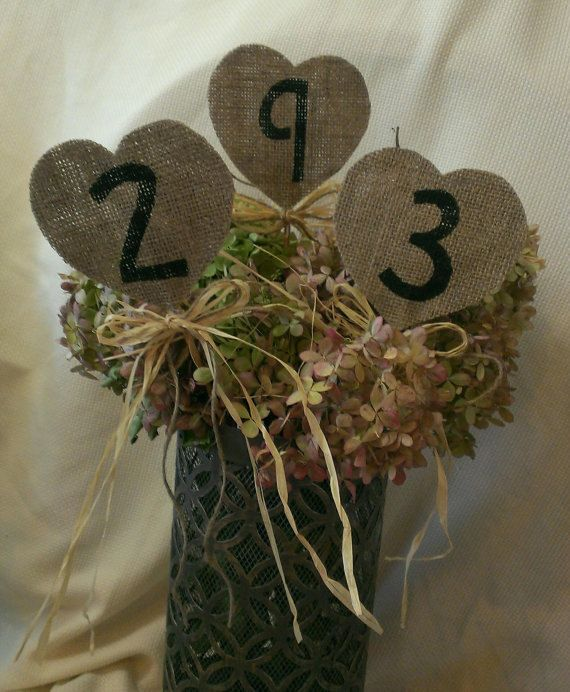 Table Burlap Numbers Large HEART Wedding Raffia Center Piece Jute Bow Unique Wedding Party Rustic Country by ThreeTwigsDesigns on Etsy
