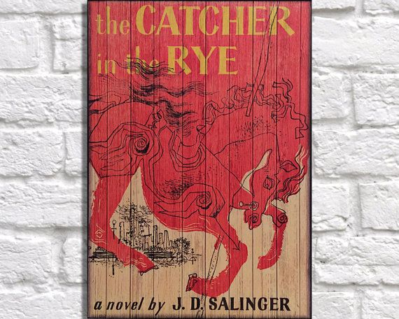 • THE IMAGE:  Ready to hang, Rustic panelled effect classic vintage book cover for The catcher in the rye, 1st published in 1951, written by JD
