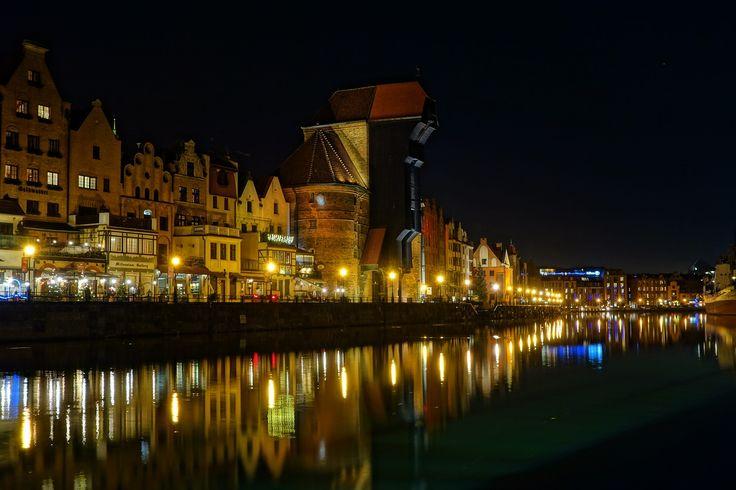 Gdańsk, Noc, Żuraw, Wieczór, Ulica, Stare Miasto