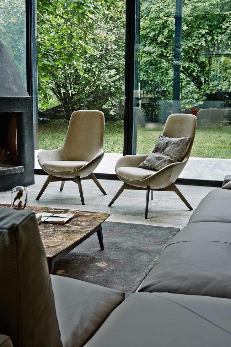Petit fauteuil en cuir avec dossier haut LINEAR | Petit fauteuil en cuir - Ditre Italia