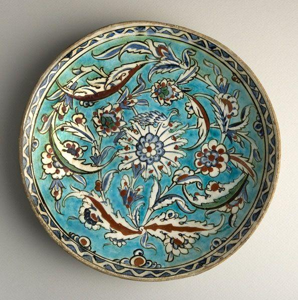 "Iznik Bowl - ADC.75 Origin: Iznik, Turkey Dimensions: 2.09"" (5.3cm) high x 11.42"" (29.0cm) wide Collection: Islamic Art Medium: Earthenw..."
