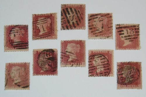 Stamp Pickers Great Britain 1857 QV Penny Red Stars x 10 Scott #20 VFU $110+