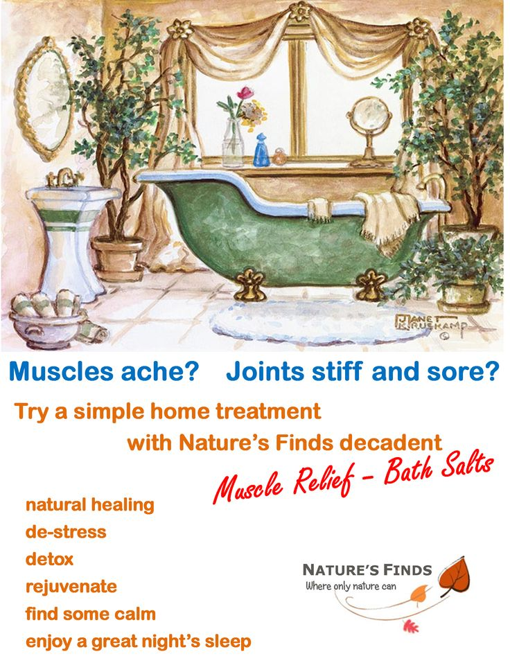 Muscle aches and pains are literally a pain. Why not enjoy a warm relaxing bath with some Nature's Finds Muscle Relief Bath Salts to ease the pain and allow you to function a lot easier. Medication free pain relief anytime, very cheaply.