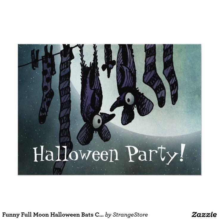 Funny Full Moon Halloween Bats Custom Party 5x7 Paper Invitation Card
