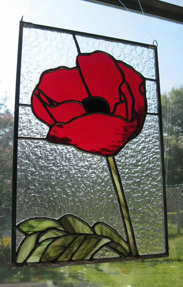 Stained Glass Panel - Red Poppy. $110.00, via Etsy.