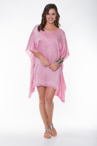 Boho Silk Collection – Pink & Off White Kaftan Ladli Australia  One off vintage hand block printed pure silk kaftan.