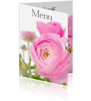 Voor de planning van uw dinner kunt u menukaartjes met pioenrozen zelf maken. Een prachtige kaart voor een heerlijk etentje.