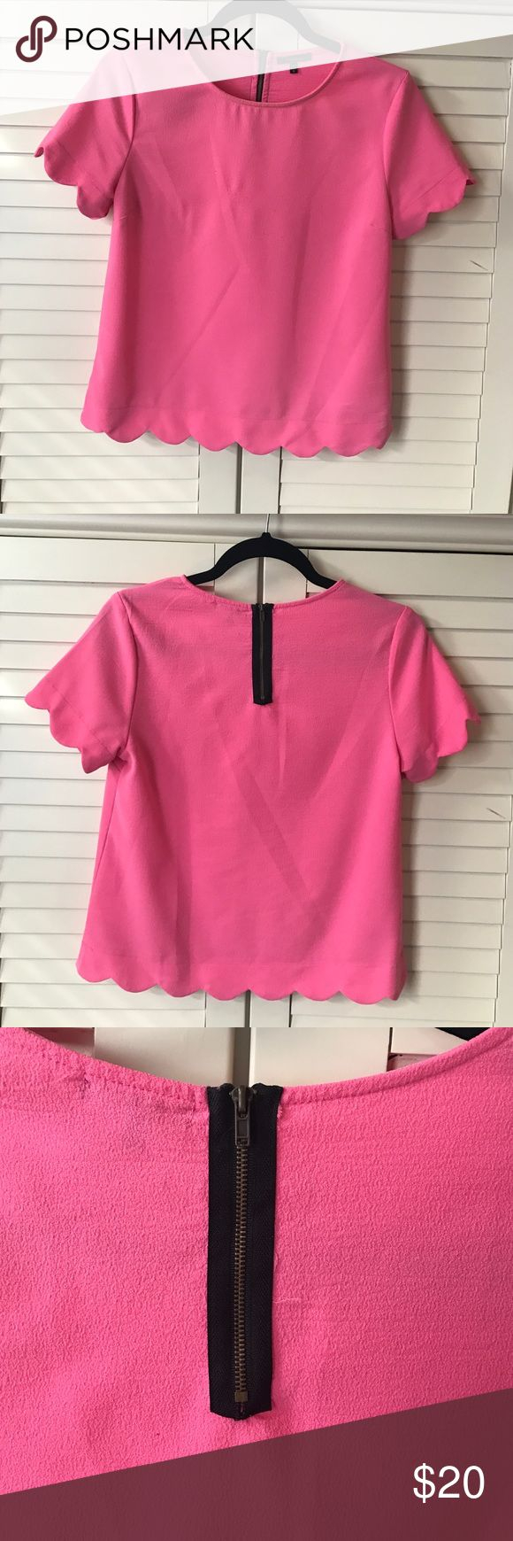 Pink Scalloped Top ••GOOD CONDITION•• pink Scalloped top. Zipper detail on back. Small patch of piling as shown. •Make me an offer! Anything is negotiable!• listed as Zara for exposure Zara Tops