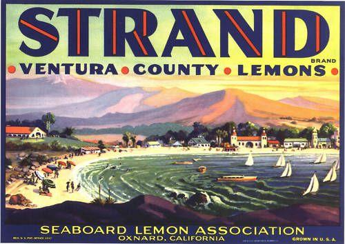 Strand Crate Label Oxnard Vintage Beach Sailing Oxnard Ventura Original Lemon