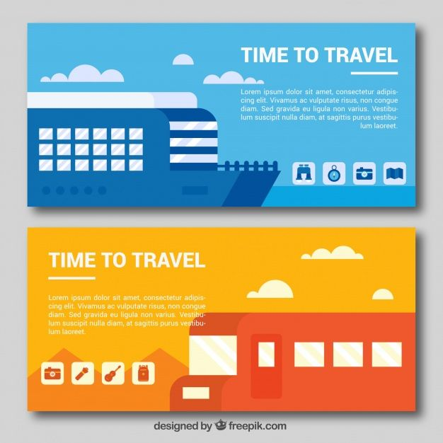 Travel banners with boat and bus in flat design #Free #Vector  #Banner #Travel #Design #Map #World #Banners #Worldmap #Bus #Flat #Boat #Flatdesign #Tourism #Vacation #Trip #Holidays #Journey #Traveling #Traveler #Baggage #Worldwide