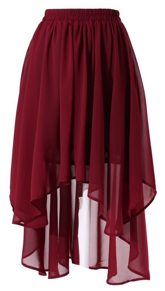 Wine Red Asymmetric Waterfall Skirt