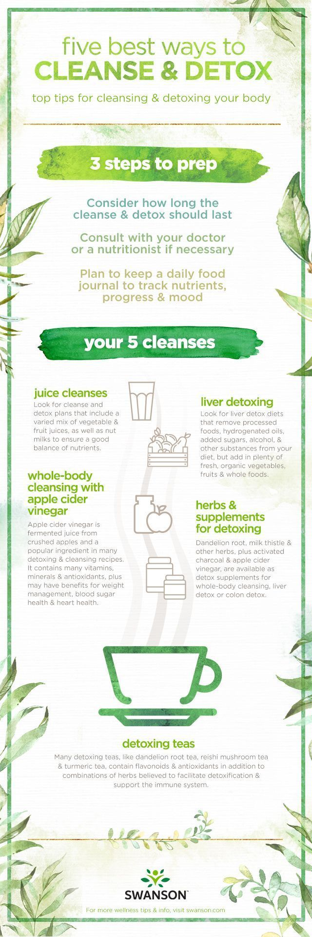 Best Ways to Cleanse and Detox, 5 ways plus tips on how to detox  The best ways to cleanse & detox your whole body. Learn everything you need to know about juice cleanses, liver detoxing, detox teas, apple cider vinegar cleansing, and which herbs & supplements are best for detoxing. #BestWholeBodyCleanseAndDetox #LiverDetoxSupplements