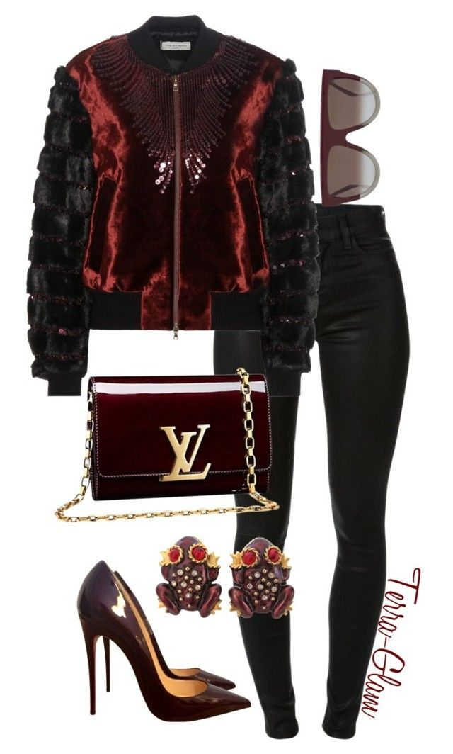 """""""Deep & Rich"""" by terra-glam ❤ liked on Polyvore featuring J Brand, Dries Van Noten, Louis Vuitton, Christian Louboutin, CÉLINE and Gerard Yosca"""