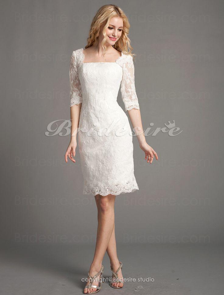 Bridesire - Etui-Linie Spitzen Kurz/Mini Carré-Ausschnitt Brautkleid [488364] - €119.77 : Bridesire