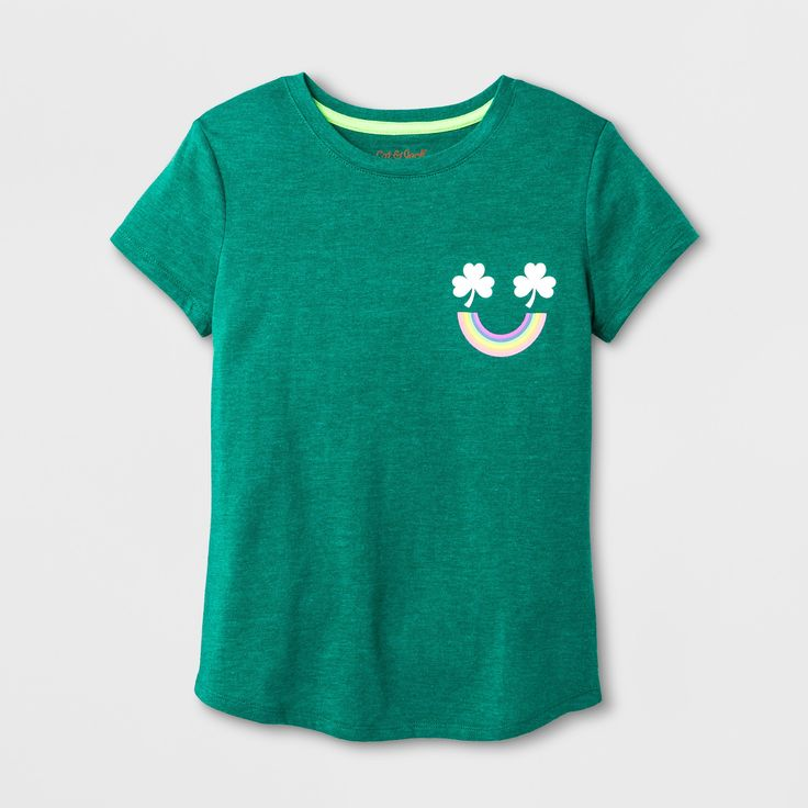 Girls' Short Sleeve St. Patrick's Day Multi Smiley Graphic T-Shirt - Cat & Jack Green XS
