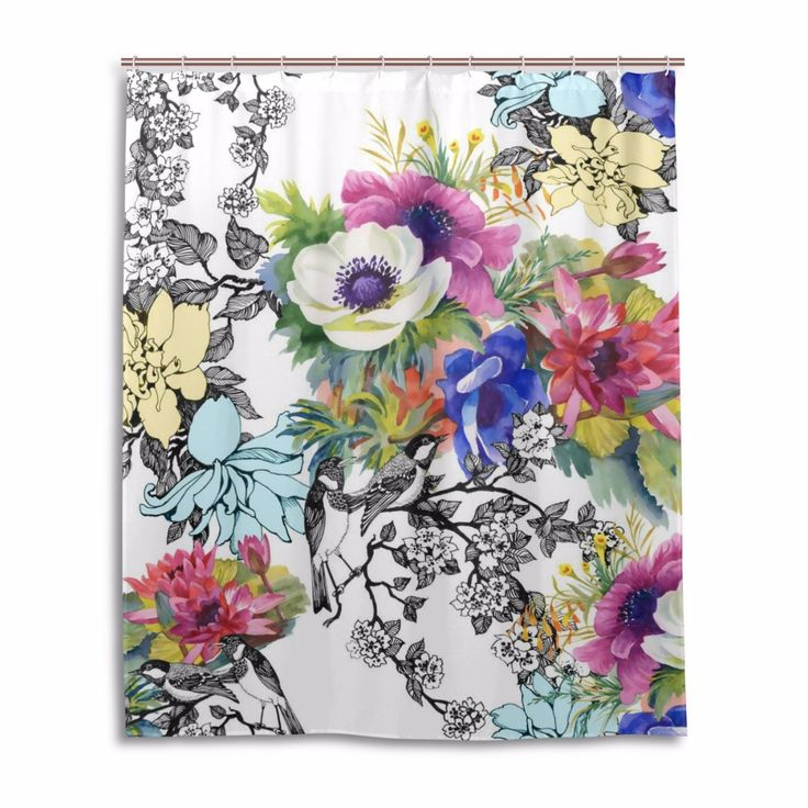 2017 New Arrival Flower Printed Bathroom Curtain Waterproof Moldproof Polyester Shower Curtain