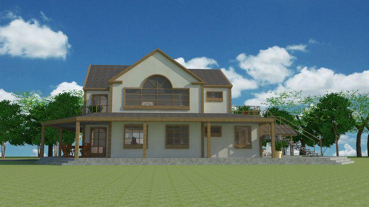 #espaciohonduras Diseños y planos de casa de campo de dos pisos proyecto K1 mas información en el siguiente Link:  http://www.espaciohonduras.net/disenos-y-planos-de-casas-de-campo-de-uno-y-dos-niveles-sketchup-autocad-k1