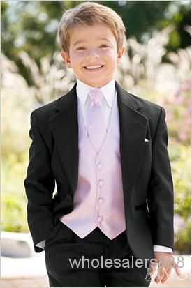 Get a suit of  Custom Made One Button Boy Tuxedos Notch Lapel Children Suit Black Kid/Ring Wedding/Prom Suits (Jacket+Pants+Tie+Vest+Shirt+Suspenders) F70 in wholesalers888 for your son and make him a little gentleman. Besides, fine kids clothes online,kids clothing storesand mens wedding suits should in your demands and they are all for sale on DHgate.com.